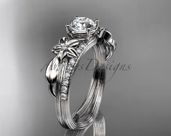 "14kt white gold diamond leaf and vine wedding ring, engagement ring with a ""Forever One"" Moissanite center stone ADLR331"