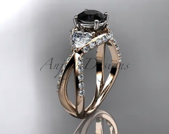 Unique 14kt rose gold diamond wedding ring,engagement ring with black diamond ADLR318