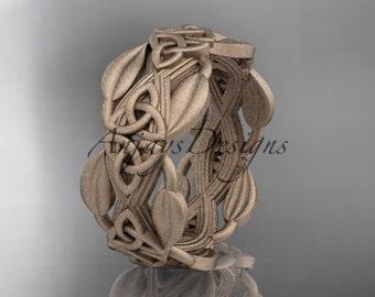 14kt rose gold celtic trinity knot matte finish wedding band, engagement ring CT7259B