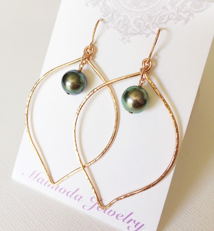 earrings riki tahitian pearl hoop earrings lotus hoop
