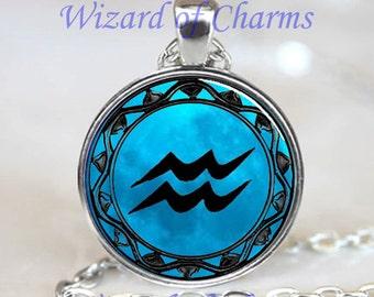 Aquarius Blue Moon Zodiac Symbol Pendant, Necklace Astrology Horoscope Jewelry Necklace Pendant (PD0463)