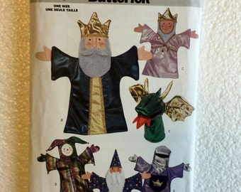 Butterick Sewing Pattern 3230 Puppet Theater and 6 Fairy Tale Hand Puppets King Queen Dragon Jester Sorcerer Eastern King