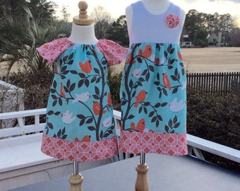 SiSTER SET for Spring and Summer..  girls tank style dress with coordinating flutter  sleeve Phoebe..