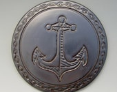 Ceramic Medallion for Backsplash: Hand Carved Nautical Design, Metallic Anchor, Beautiful, Practical Kitchen Art