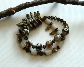Bracelet, Dalmatian Brown & Cream Stretch Bracelet, 2 Strand Stone Nut and Antique Brass Stretch Bracelet, Natural, Earthy, Double Strand