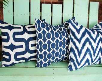 "Set of 3 18"" X 18"" navy blue, white premier prints  cotton- Decorative pillow cover-throw pillow-accent pillow"