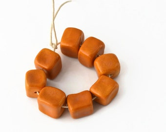 Ceramic Beads, handmade beads, African beads, beads made in South Africa, square beads, 8  beads