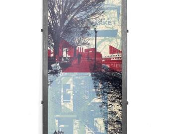 Federal Hill Mashup Framed Silkscreen Print, Baltimore, MD