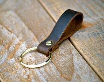 Simple Handmade Coffee Brown Leather Keychain