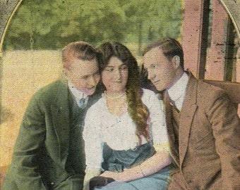 Vintage 1920's Art Deco Postcard RPPC Tinted Real Photo Dance Invitation ROMANTIC SERIES