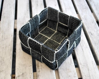 Decorative Square Basket Woven Black and White Upholstery Tape