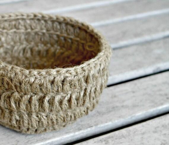 Crocheted Bowl Table Decor Hostess Gift Jute Crochet