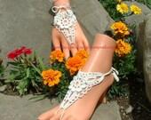 White Wedding Crochet Barefoot Sandals, Bridal Shoe Jewelry, Beach Wedding Barefoot Sandals, Lace Shoes, Beach Bridal Barefoot Sandals