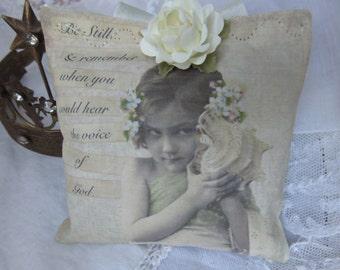 Shabby Romantic, Inspirational Gift, Lavender Sachet, Beach Girl, Seashell, Cream Pink Roses, Support Gift
