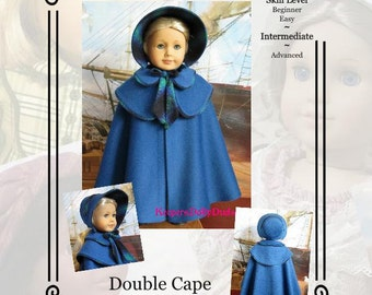 "PDF Pattern KDD18- ""Double Cape & Bonnet""- Makes Doll Clothes to Fit 18"" ~An Original Design By KeepersDollyDuds"