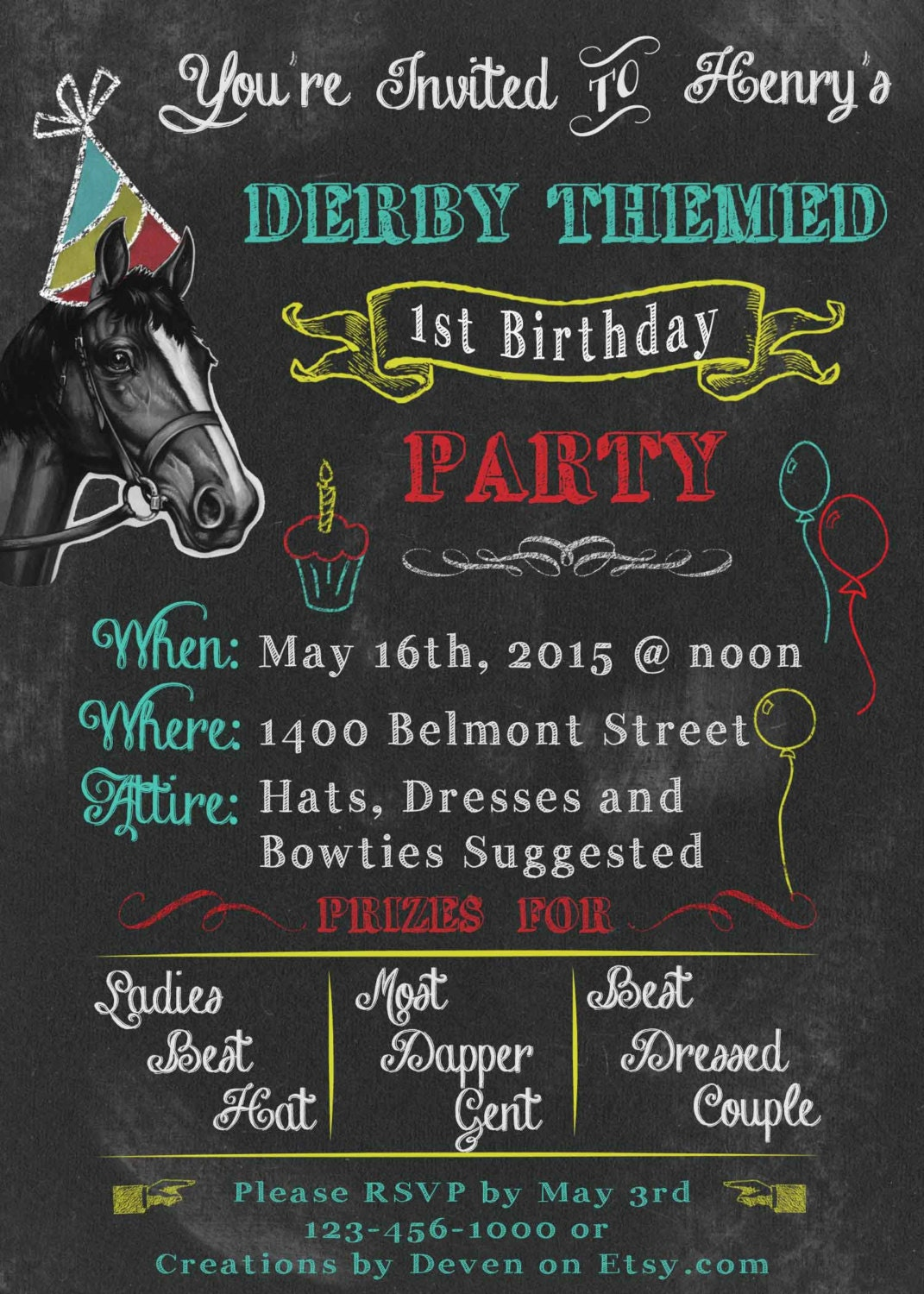 Kentucky Derby Themed Birthday Party Invitations Chalkboard