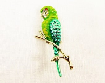 Green Enamel Parrot Brooch - Vintage Gold Tone Rhinestone Figural Bird Pin