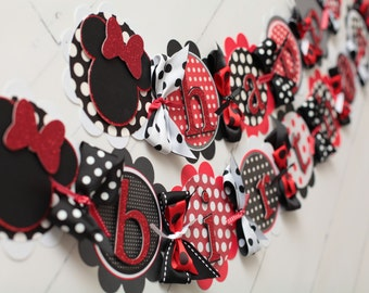 Minnie Mouse Happy Birthday Banner Red, Black, White