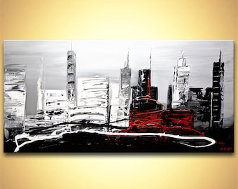 "Modern palette knife abstract city painting  Black, White, Gray, Red Acrylic Painting ORIGINAL Contemporary by OSNAT 48""x24"""