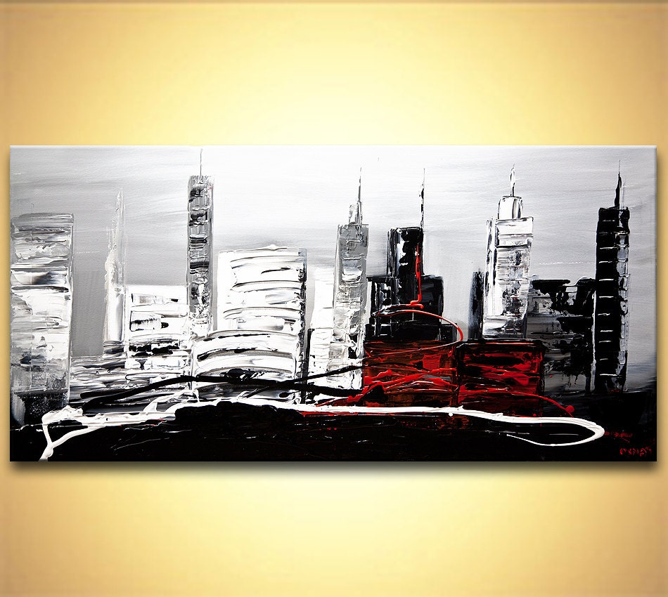 Modern palette knife abstract city painting black white - Peinture noir et blanc moderne ...