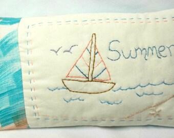 Sailboat Summer Embroidered Mini Pillow Shelf Sitter