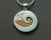 Mixed metal jewelry, beach jewelry silver and copper mixed metal necklace