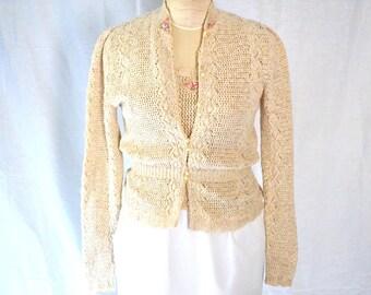 Vintage Rose Applique Beige Knit Two Piece Sweater Set