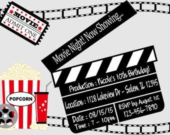 Movie Night Birthday Party Invitation  (Digital File)