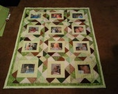 memory 12 photo patchwork quilt throw