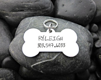 Pet Tag - Dog ID Tag - Dog Bone - Name and Phone number - Hand Stamped - Collar Tag