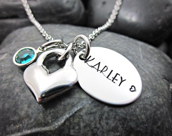 Personalized Charm Necklace - Name - Heart - Birthstone - Hand Stamped