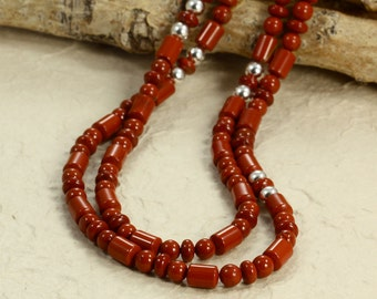 Long Red Jasper Necklace with Sterling Silver, Long Necklace, Jasper Necklace, Red Necklace