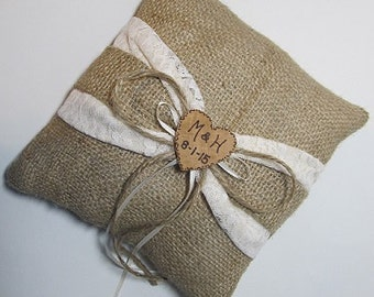 Personalized Rustic Wedding Ring Bearer Pillow With Ivory Lace and Burlap Sash