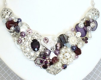 Plum Statement Necklace- Aubergine Necklace- Eggplant Bridal Bib- Purple Necklace- Statement Necklace- Eggplant Bib- Purple Bridal Necklace