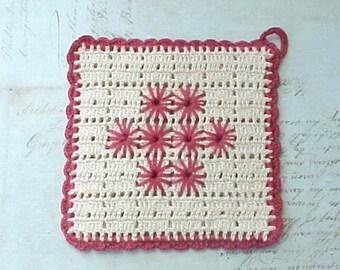 Pretty Little Vintage Crochet Pot Holder in Deep Dusty Rose-Never Used