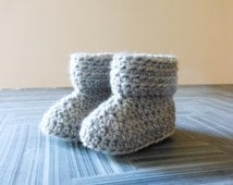 gender neutral newborn or 3 months baby booties // grey infant crib shoes // crochet wool boots // repurposed leather soles