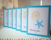 starfish thank you cards,  beach thank you cards, starfish cards, nautical cards, wedding thank you cards, hostess gift, set of 6