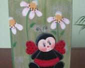 Ladybug block, daisies, shelf sitter, summer, summertime, handpainted, ladybug