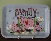 Tray, summertime, ants, watermelon, shelf sitter, daisies, handpainted,
