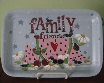 Watermelon, Ants,  Tray, summertime, shelf sitter, daisies, handpainted,