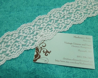 White Stretch lace, 1 yard of 2 inch White Stretch elastic lace for bridal, baby headband, garter by MarlenesAttic - Item 3D