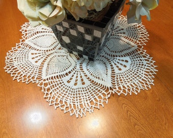 Vintage 20 inch White hand crochet doily for crafts, housewares, kitchen, dining, home decor by MarelenesAttic