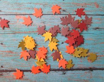 Mini Fall Colored Leaves Confetti - mini leaves, Fall Confetti, Fall Colors, Harvest, Thanksgiving,Mini Table Confetti, Fall in Love