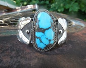 Sterling Silver Cuff Bracelet American Indian Bisbee Turquoise Cuff Signed B
