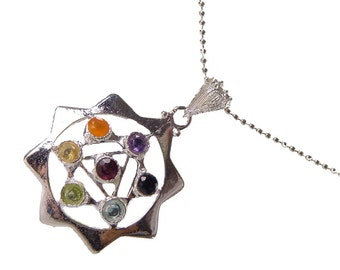 Silver Octogram 7 Chakra Natural Gemstone Accents Pendant Necklace 0344K