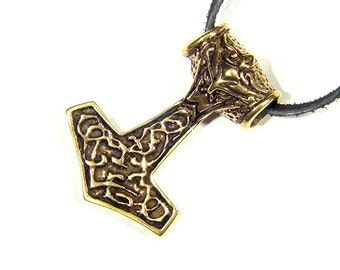 Real Solid Bronze Thor's Hammer Mjollnir Norse Viking Odin Pendant 0475C