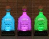 Patron Silver Tequila, Remote Control lamp, Color Changing LED, Bottle Lamp,  Bar Light, Bodacious Bottles, Liquor Bottle Lamp,