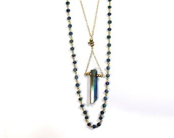 Mystic Quartz Point Bar Necklace. Unique Boho Statement Necklace. Gold Fill, Iolite Rosary, Pyrite Bar, and 22k Gold Vermeil Details.