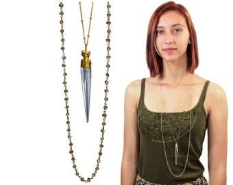 Bohemian Chic Rock Quartz Spike and Labradorite Rosary Chain Layered Necklace. 22k Gold Dipped Quartz Pendant. Boho Jewelry. NLL-1728