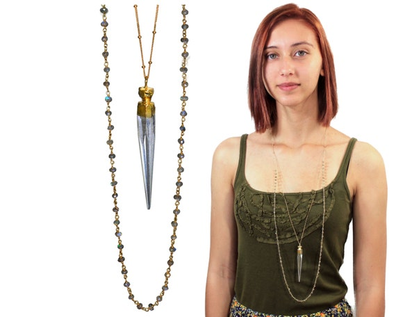 Bohemian Chic Rock Quartz Spike and Labradorite Rosary Chain Layered Necklace. 22k Gold Dipped Quartz Pendant. Boho Jewelry. NLL-1728
